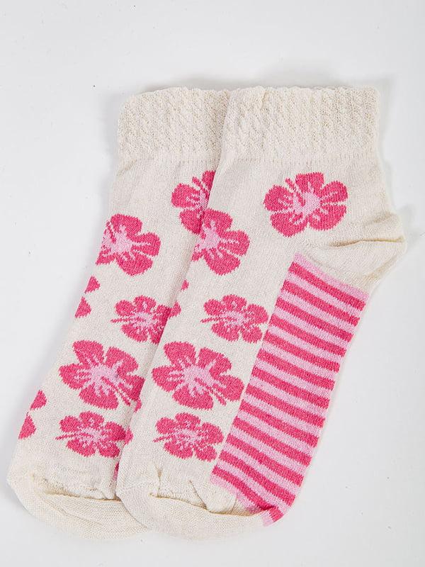 Носки молочного цвета в принт | 5584923