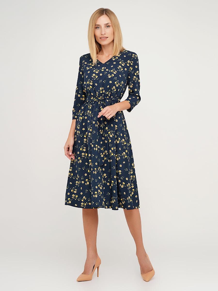 Сукня синя в квітковий принт | 5591612