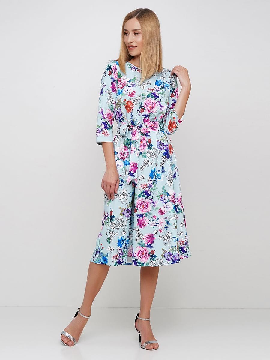 Платье голубое в цветочный принт | 5591673