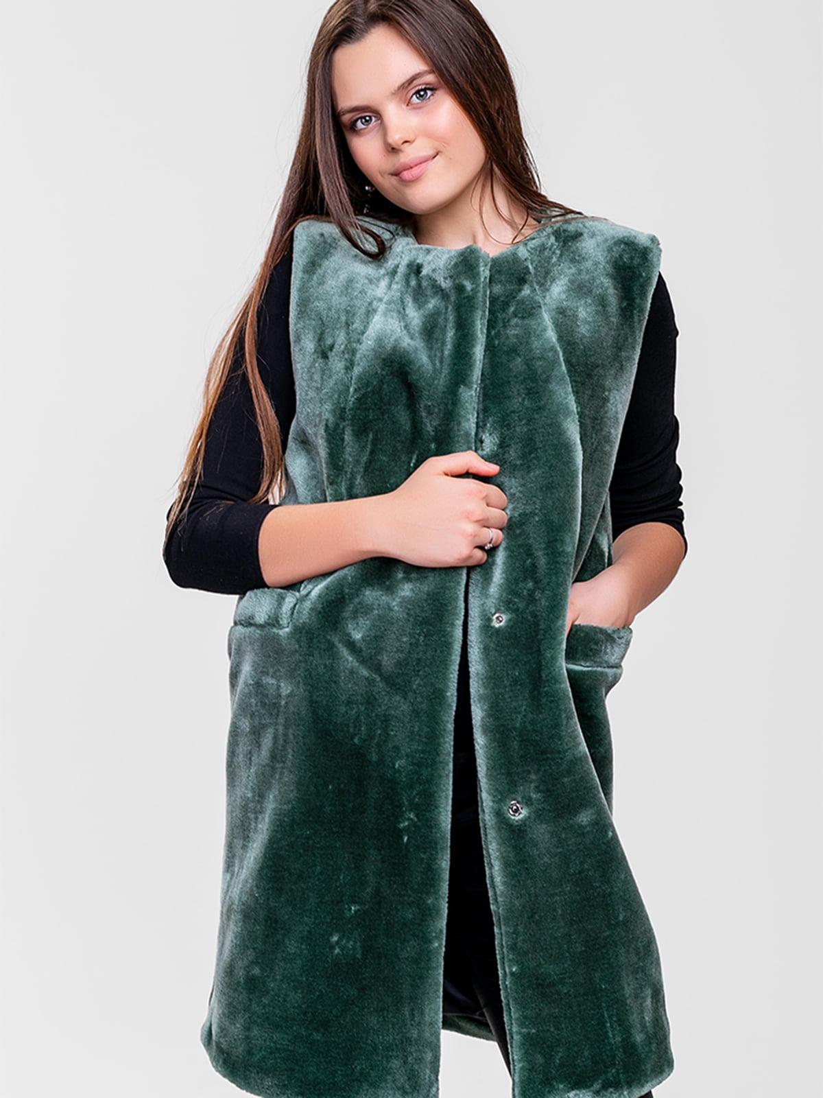 Жилет меховой зеленый | 5592220