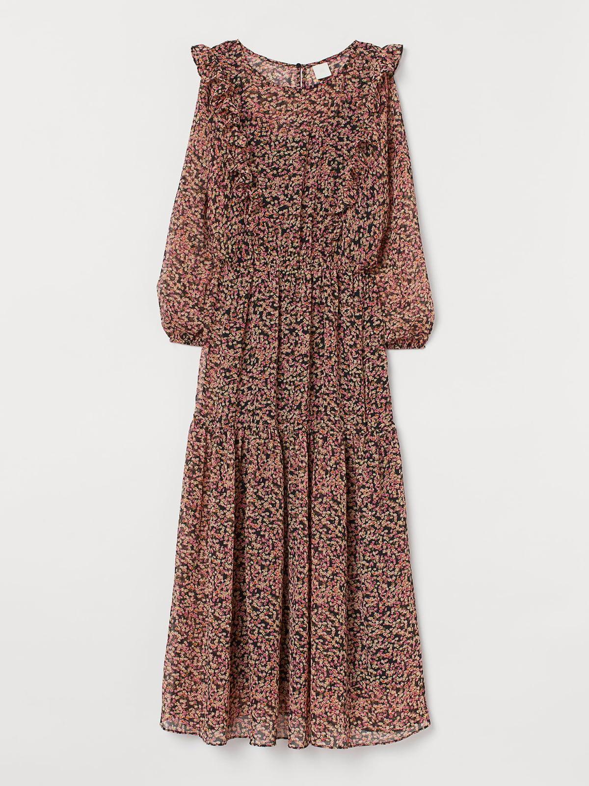 Платье черное в цветочный принт | 5586482
