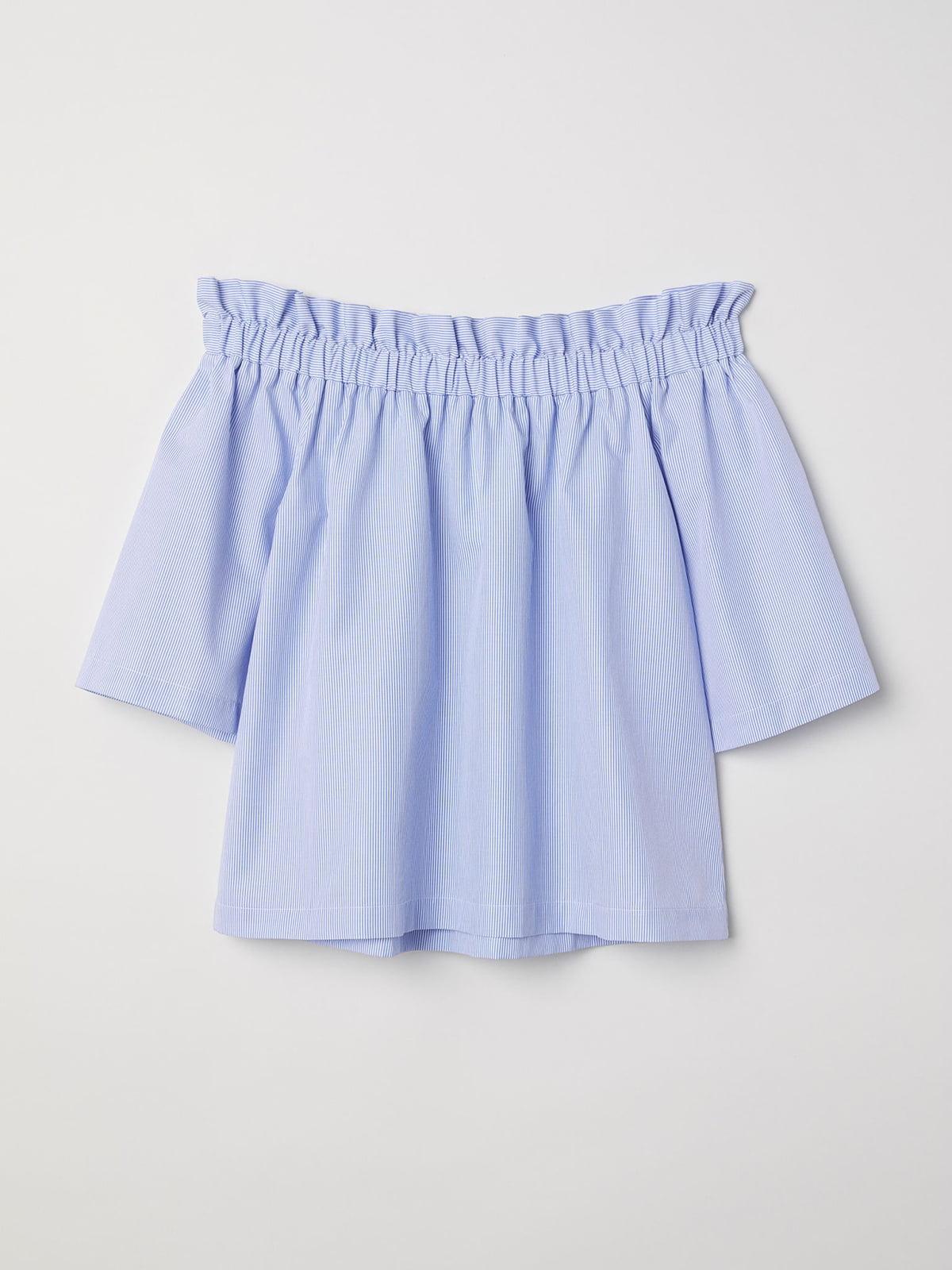 Блуза голубая в полоску | 5589479