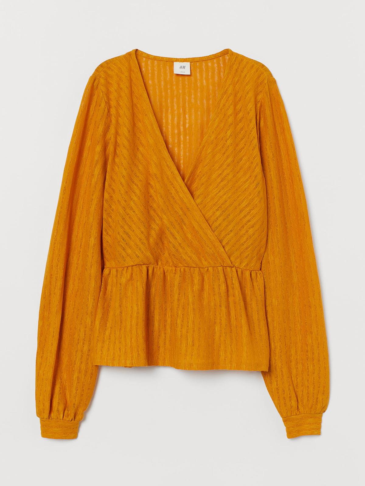 Блуза оранжевая в однотонную полоску   5589489