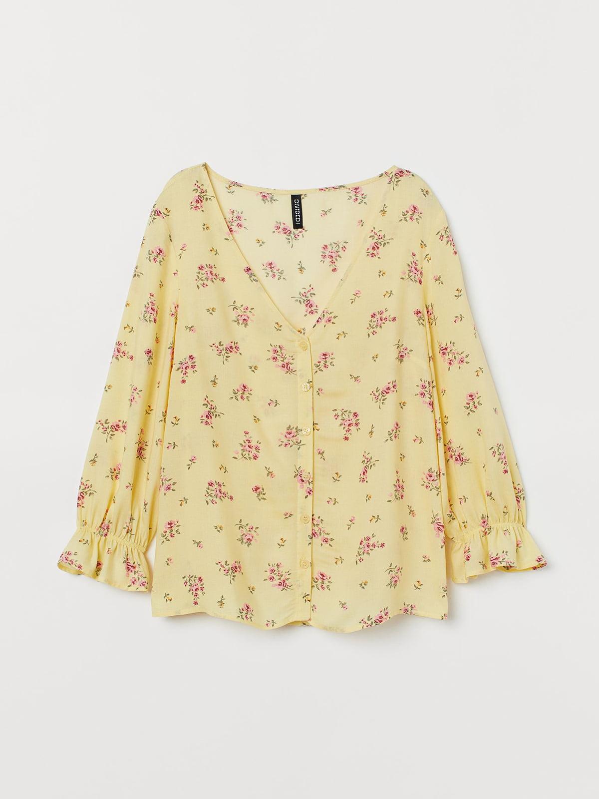 Блуза желтая в цветочный принт | 5597055