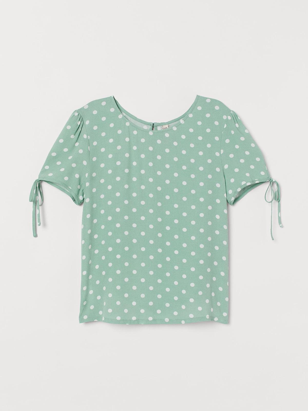 Блуза мятного цвета в горошек   5597088