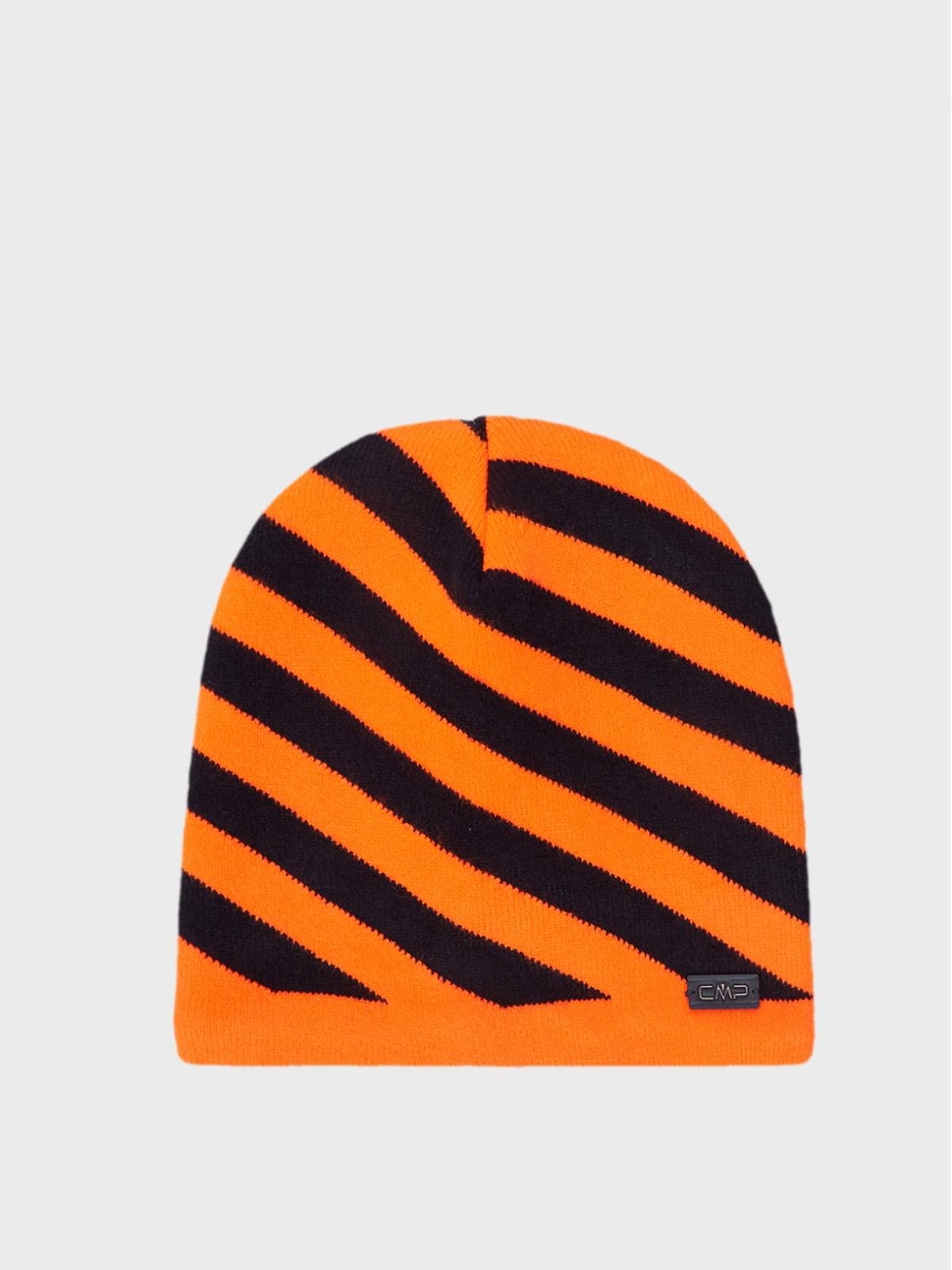 Шапка оранжевая в полоску | 5606386