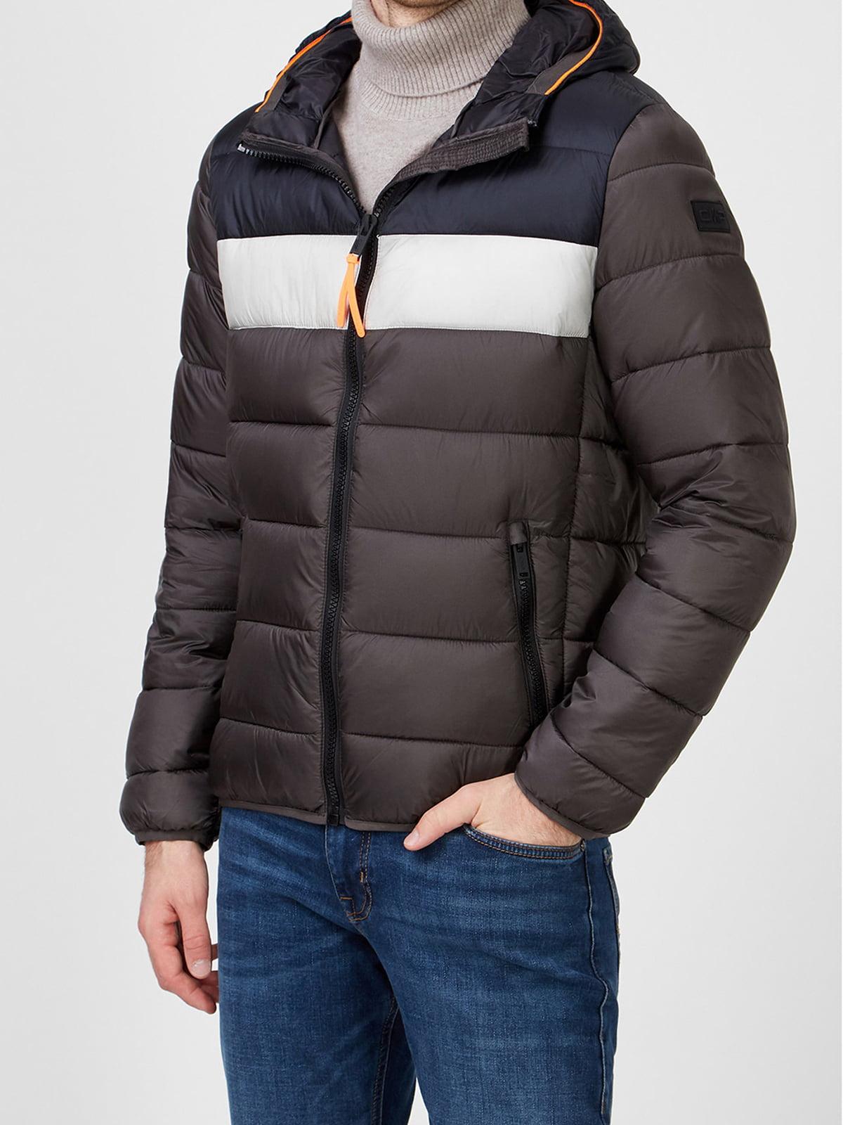 Куртка кавового кольору в смужку | 5606418