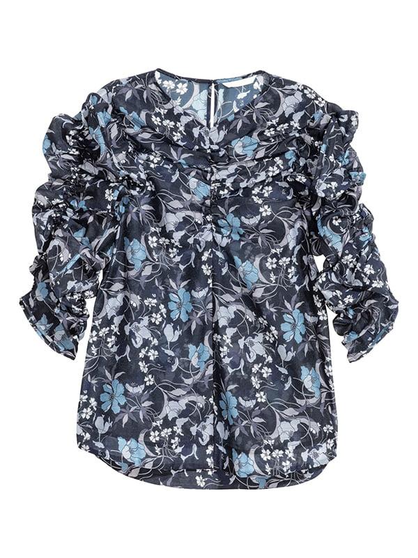 Блуза синяя в цветочный принт | 5607284