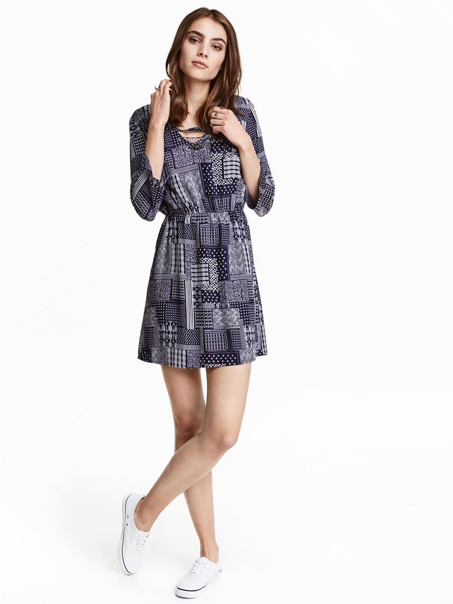 Платье синее в принт | 5608242