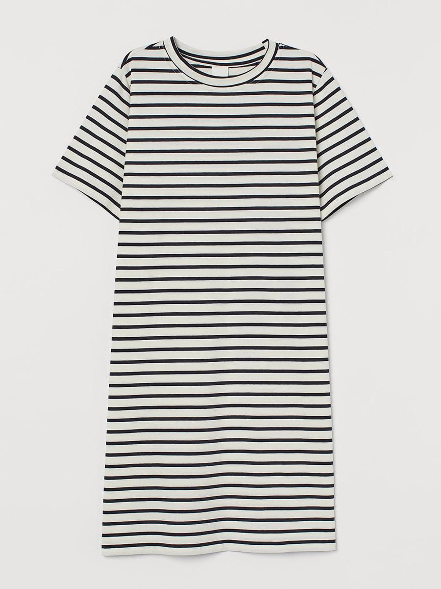Платье бело-черное в полоску | 5608300