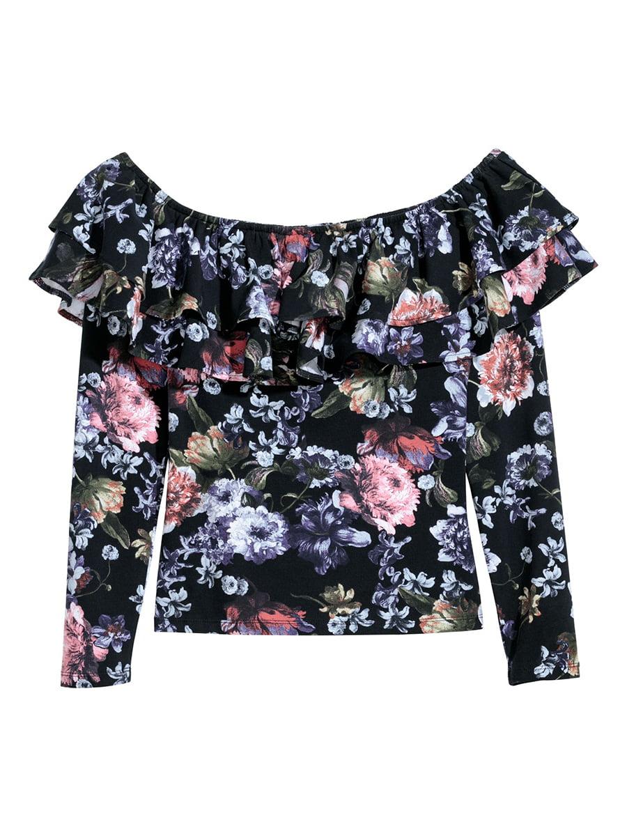 Блуза черная в принт | 5608464