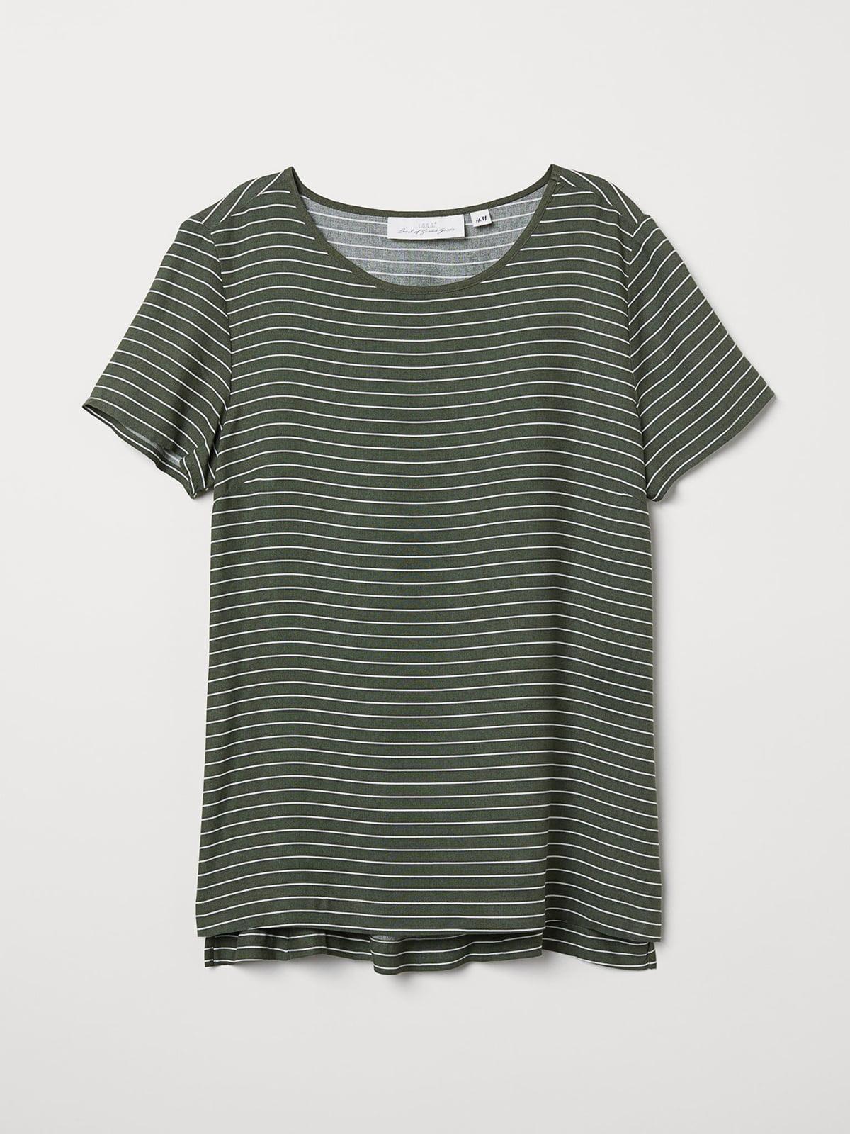 Блуза кольору хакі в смужку | 5608787