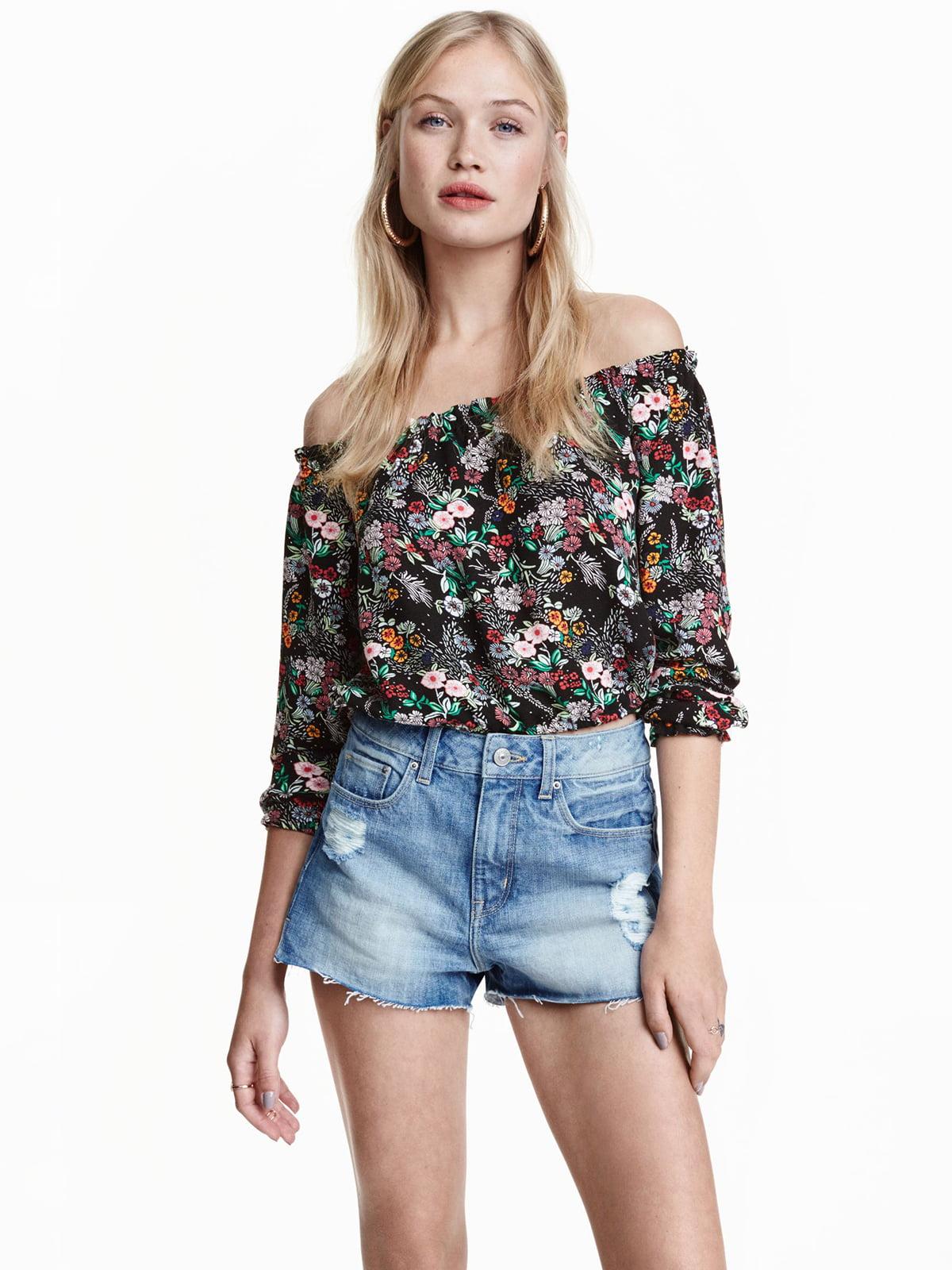 Блуза черная в цветочный принт | 5610074