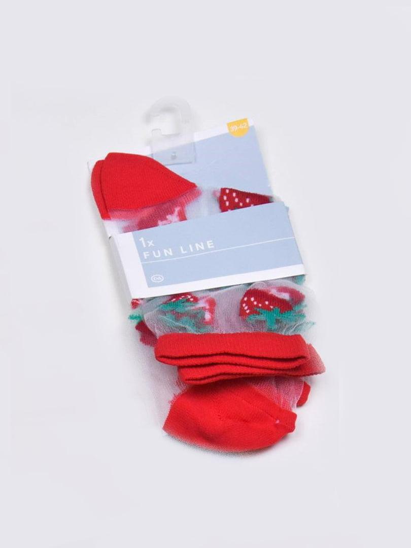 Носки капроновые красного цвета в принт | 5610098