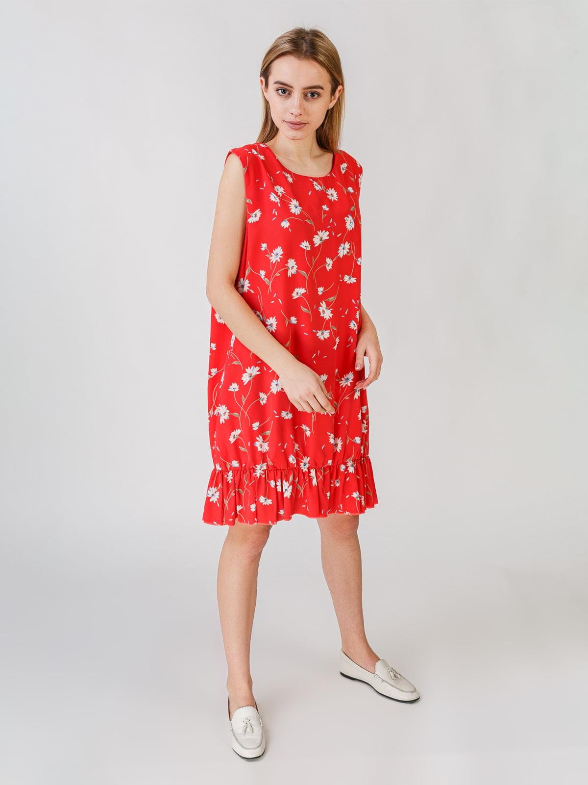 Сукня червоного кольору з квітковим принтом | 5609569