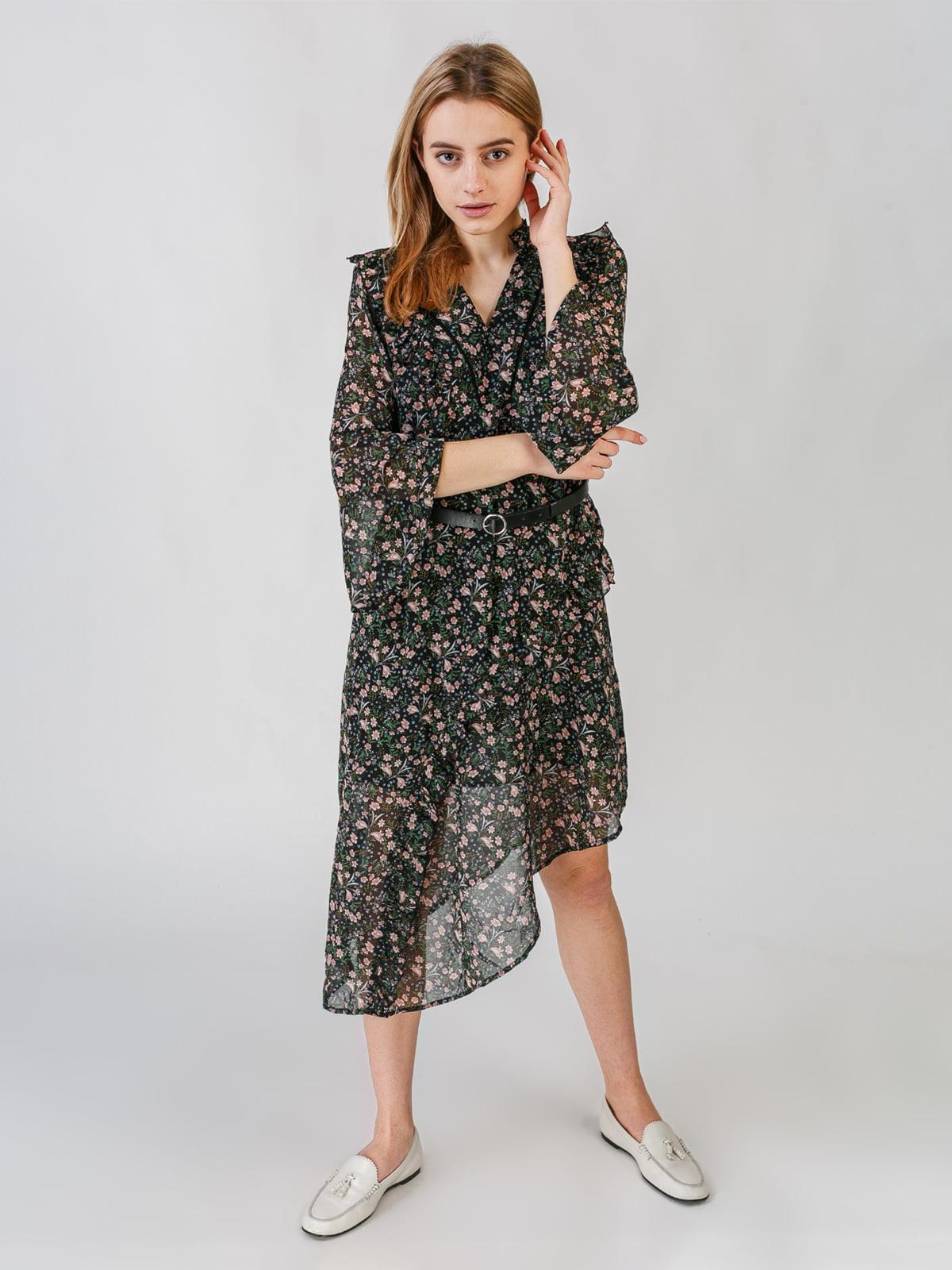 Платье черное с цветочным принтом | 5609605