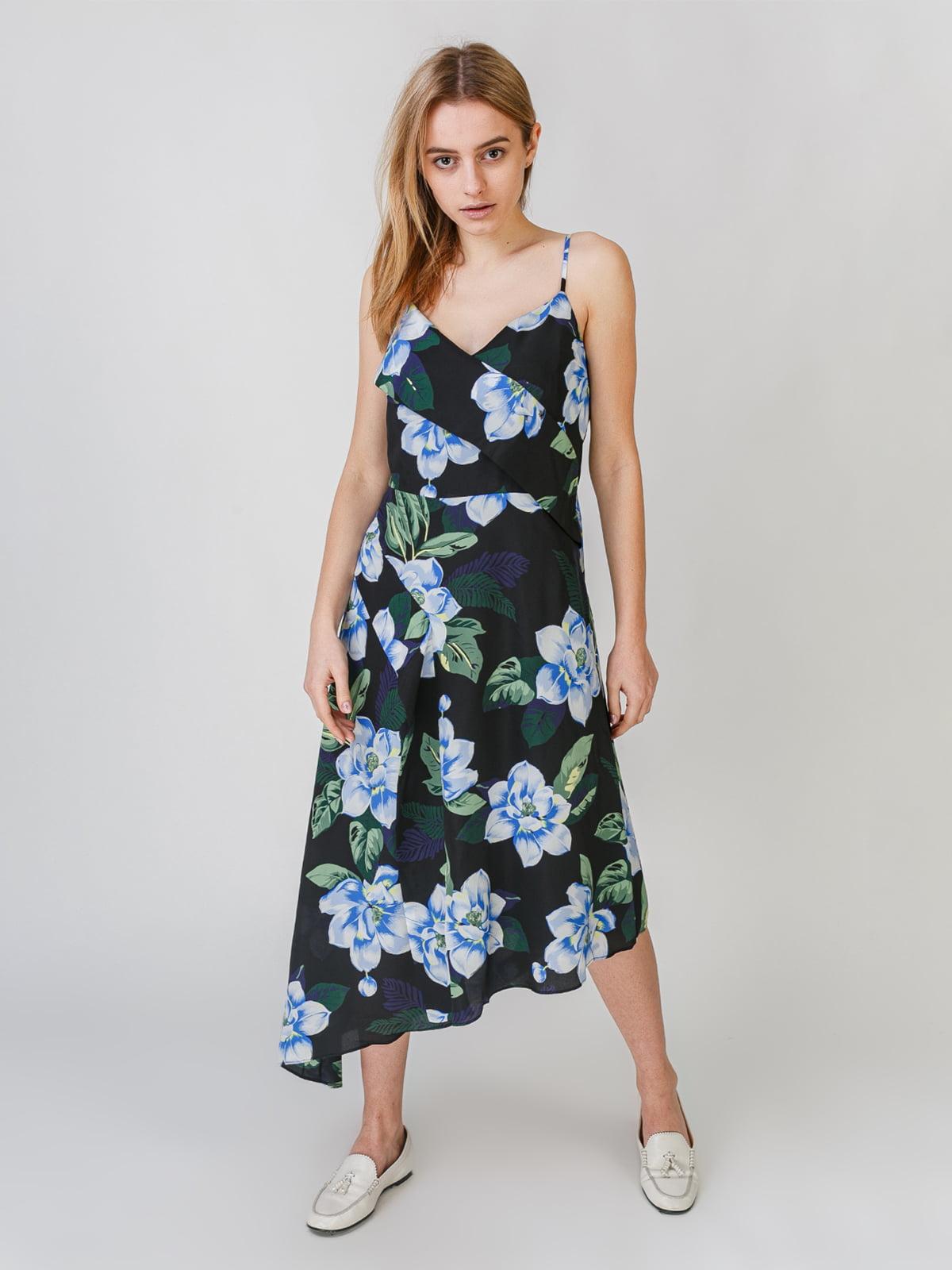 Платье черное с цветочным принтом | 5609649