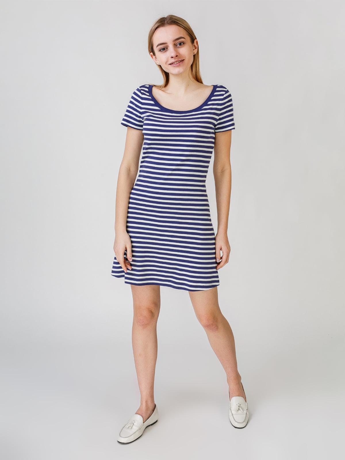 Платье бело-синее в полоску | 5609449