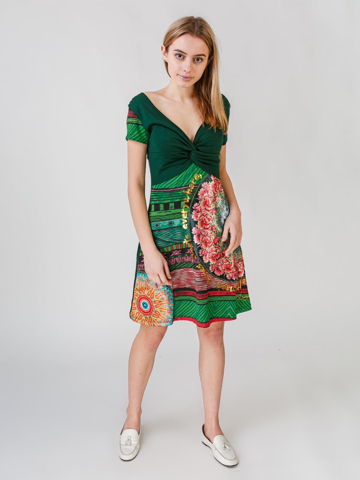 Сукня зелена з принтом | 5609566