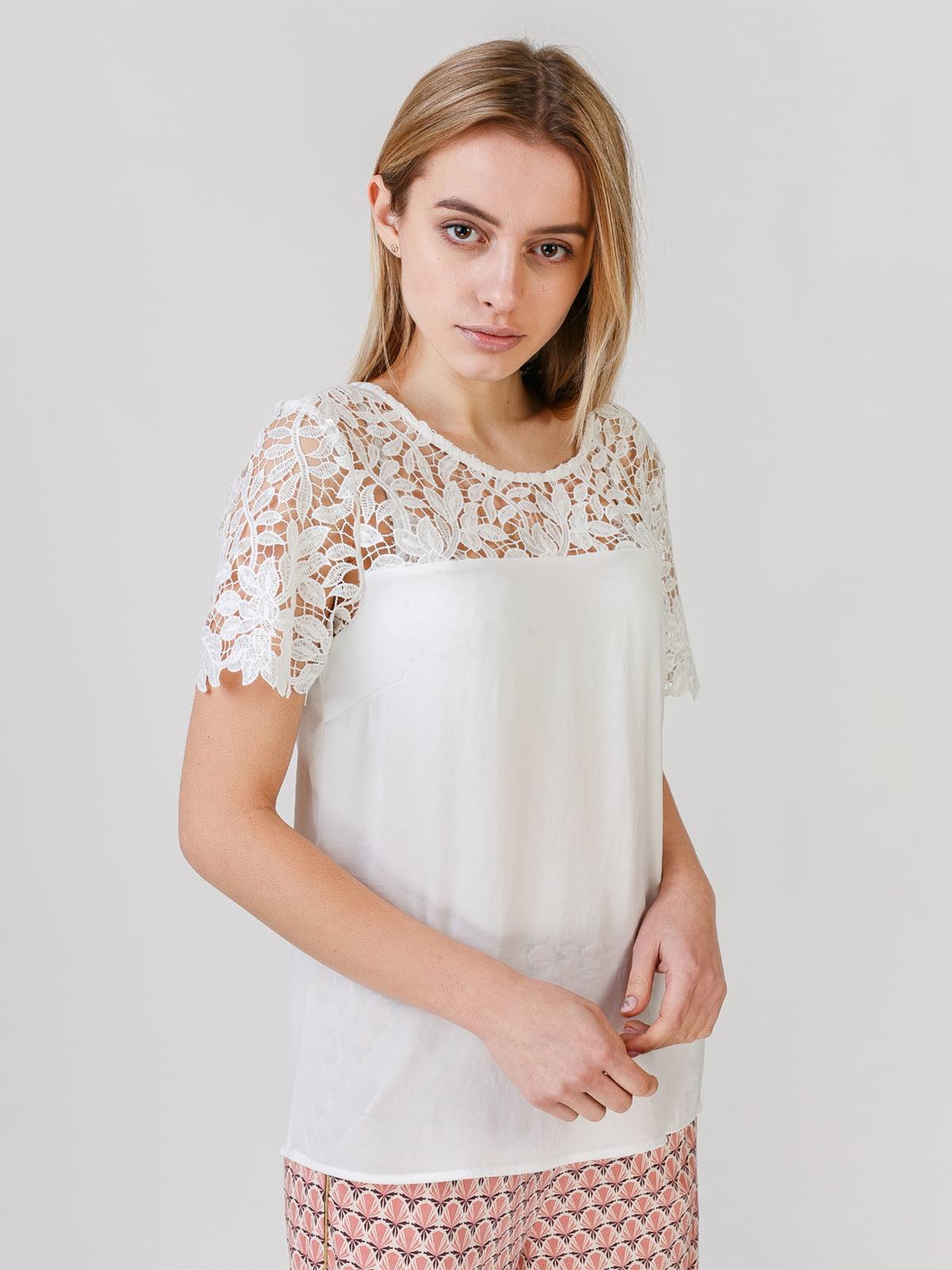 Блуза белая с узором | 5609664