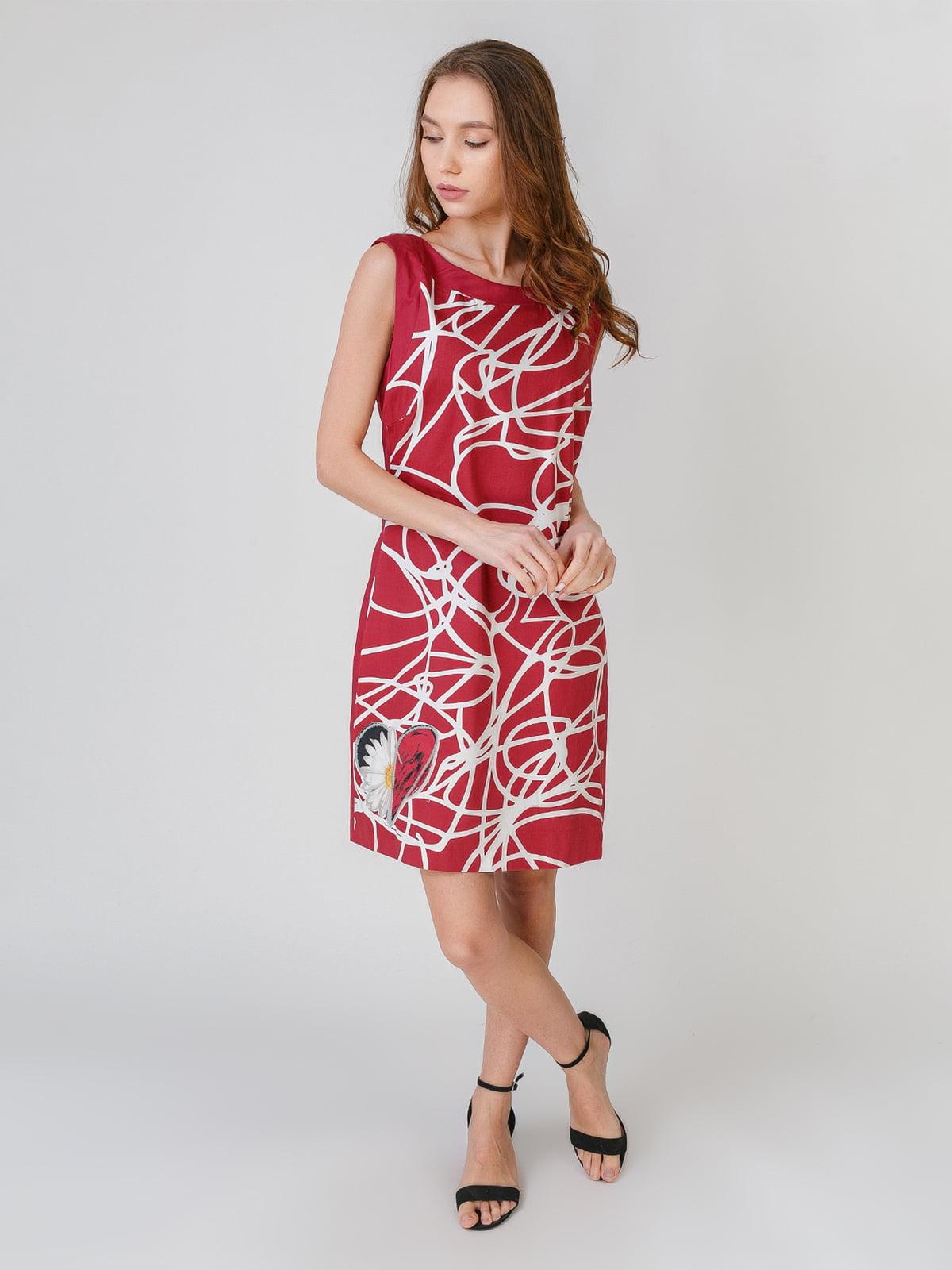 Сукня бордова з принтом | 5609647