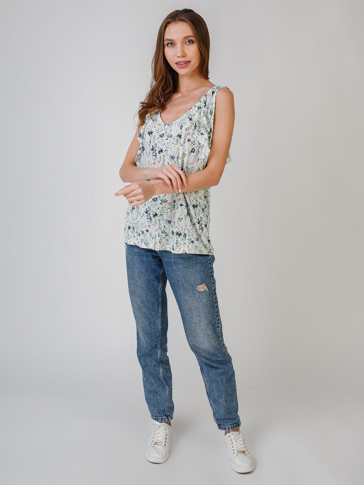Блуза біла з квітковим принтом   5609540