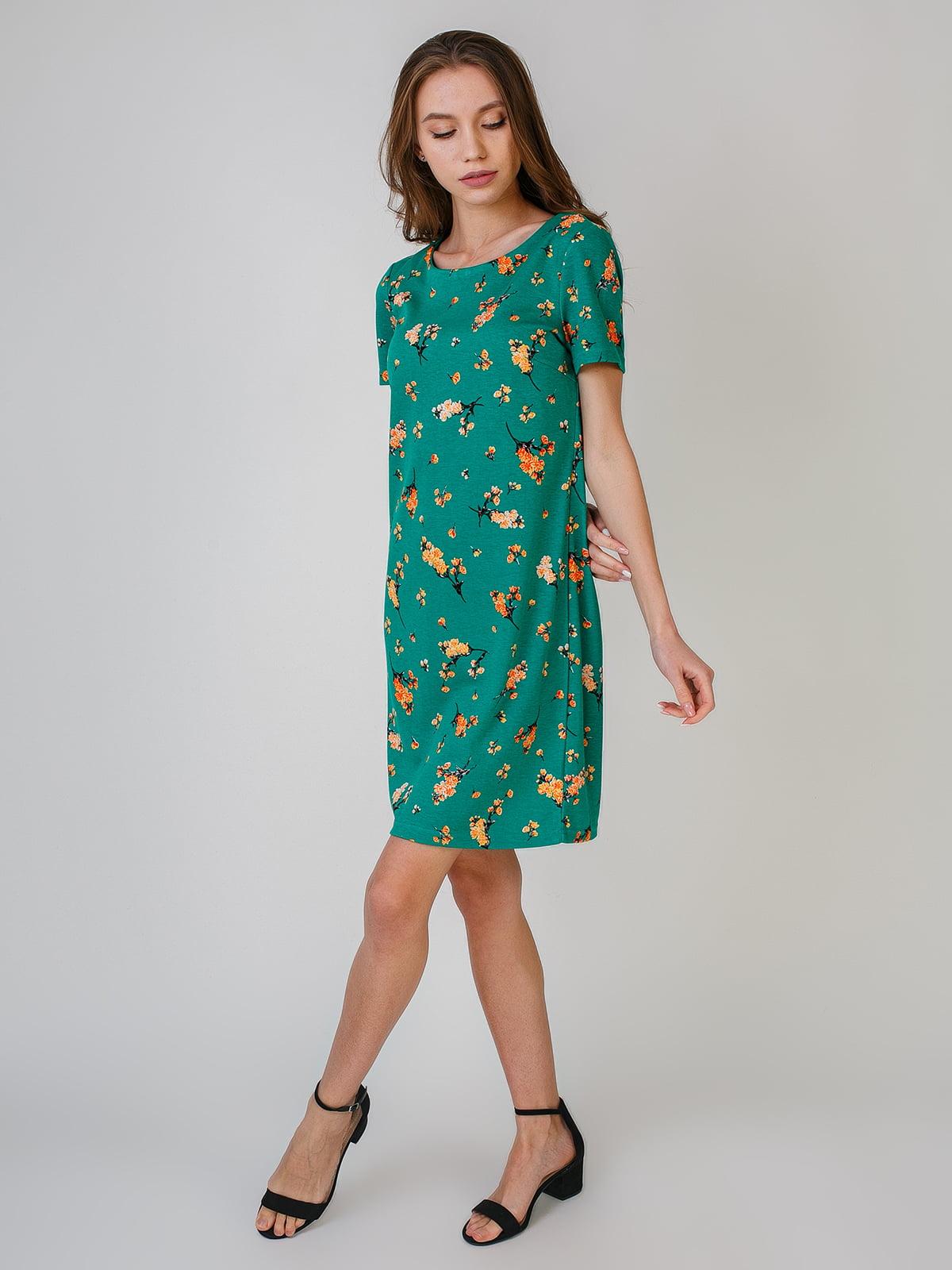 Платье зеленое с цветочным принтом   5609567