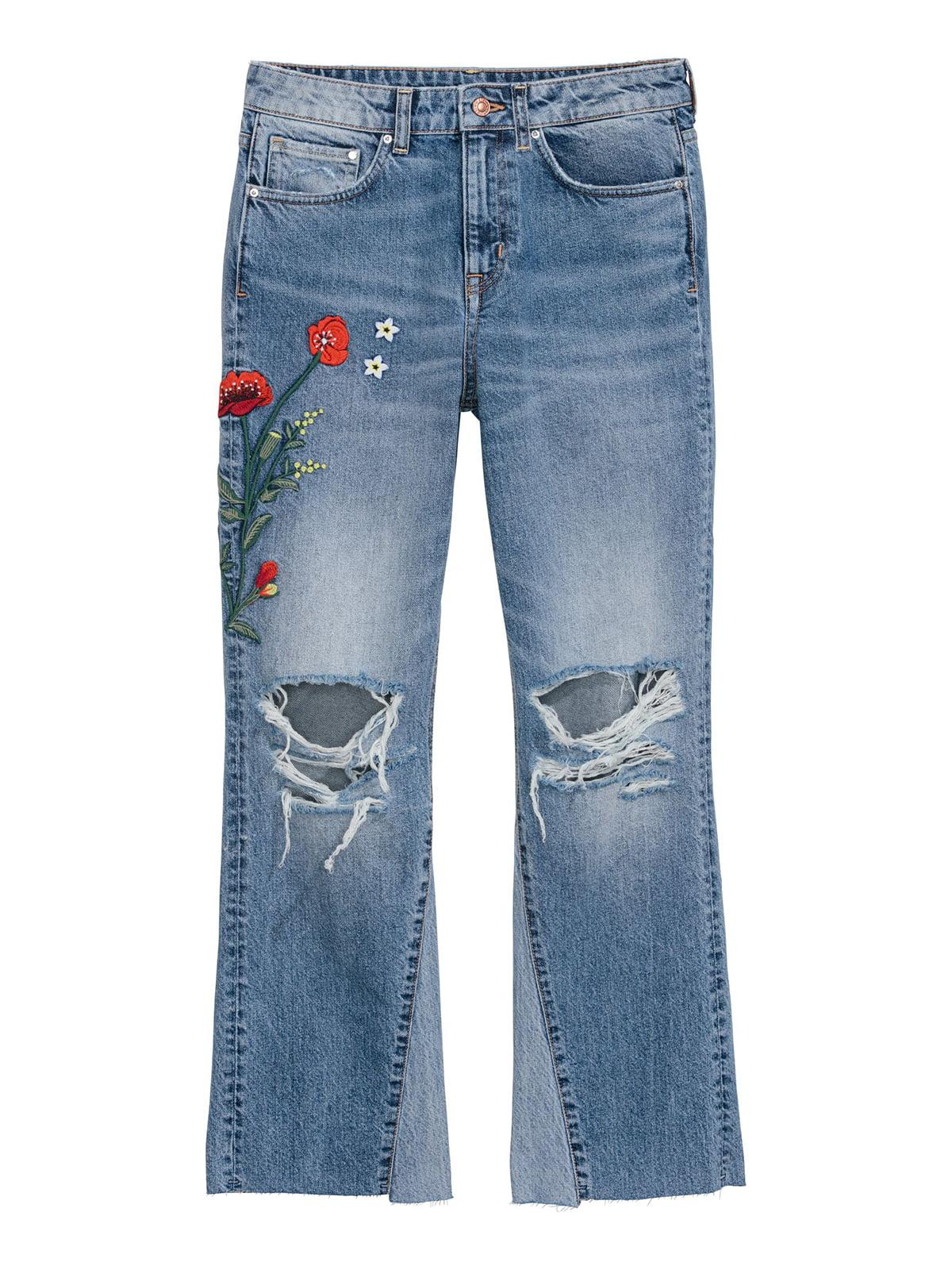 Джинсы синие с цветочной вышивкой   5612967
