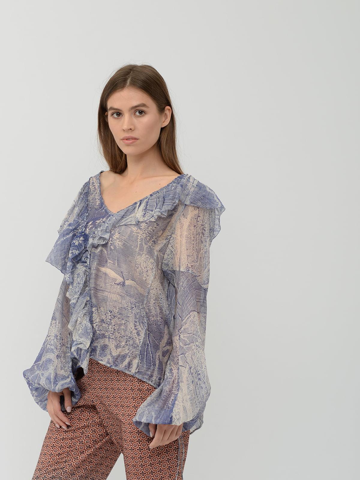 Блуза синяя с принтом | 5612984