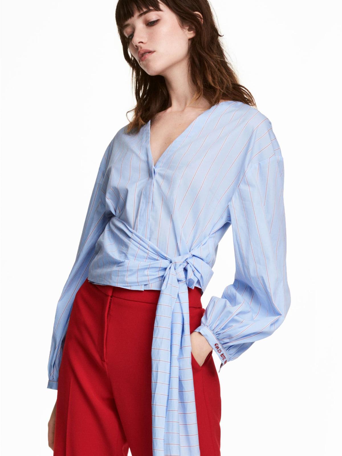 Рубашка голубого цвета в полоску | 5613974