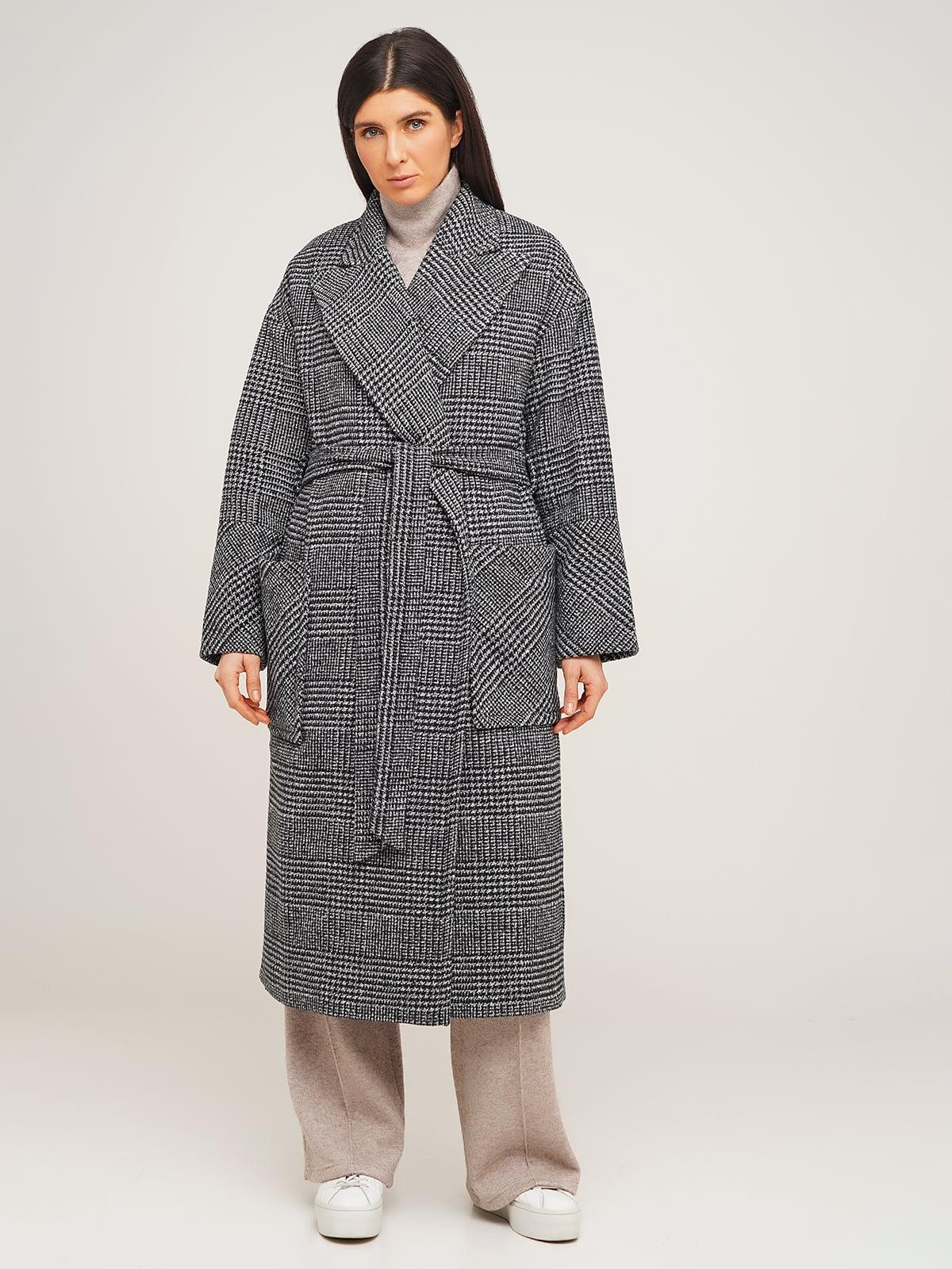 Пальто серое в «гусиную лапку» | 5199007