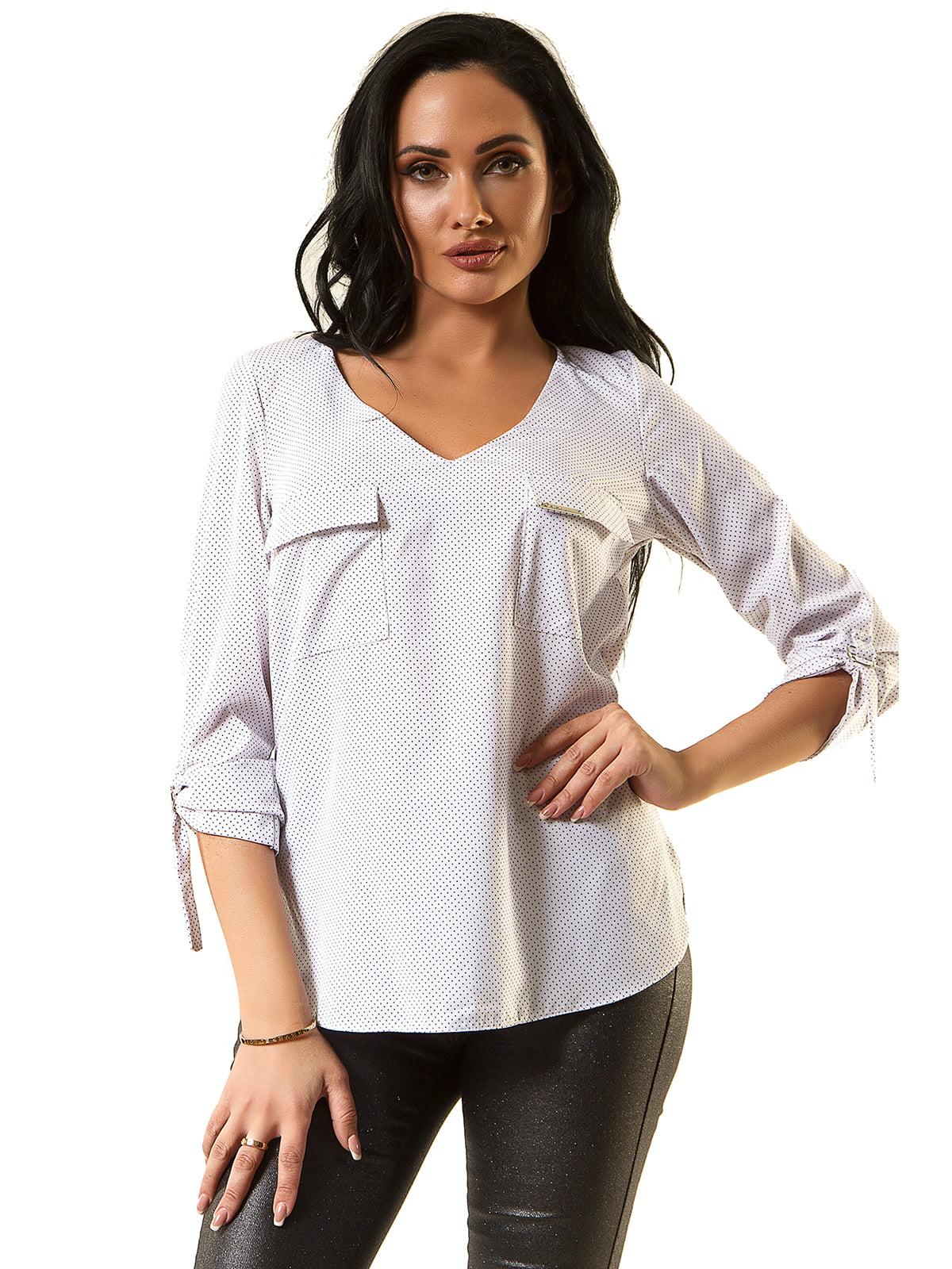 Блуза біла в горох | 5360322