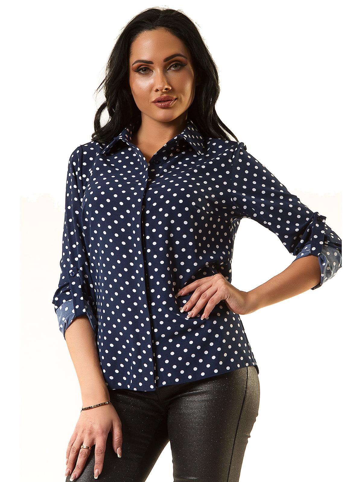 Блуза синя в горох | 5360362