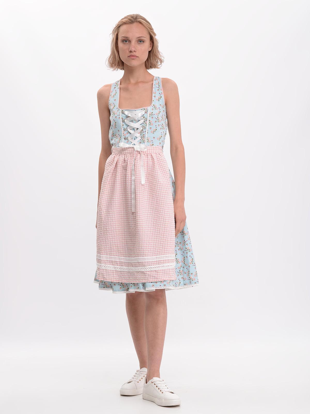 Сукня блакитна в принт | 5620281