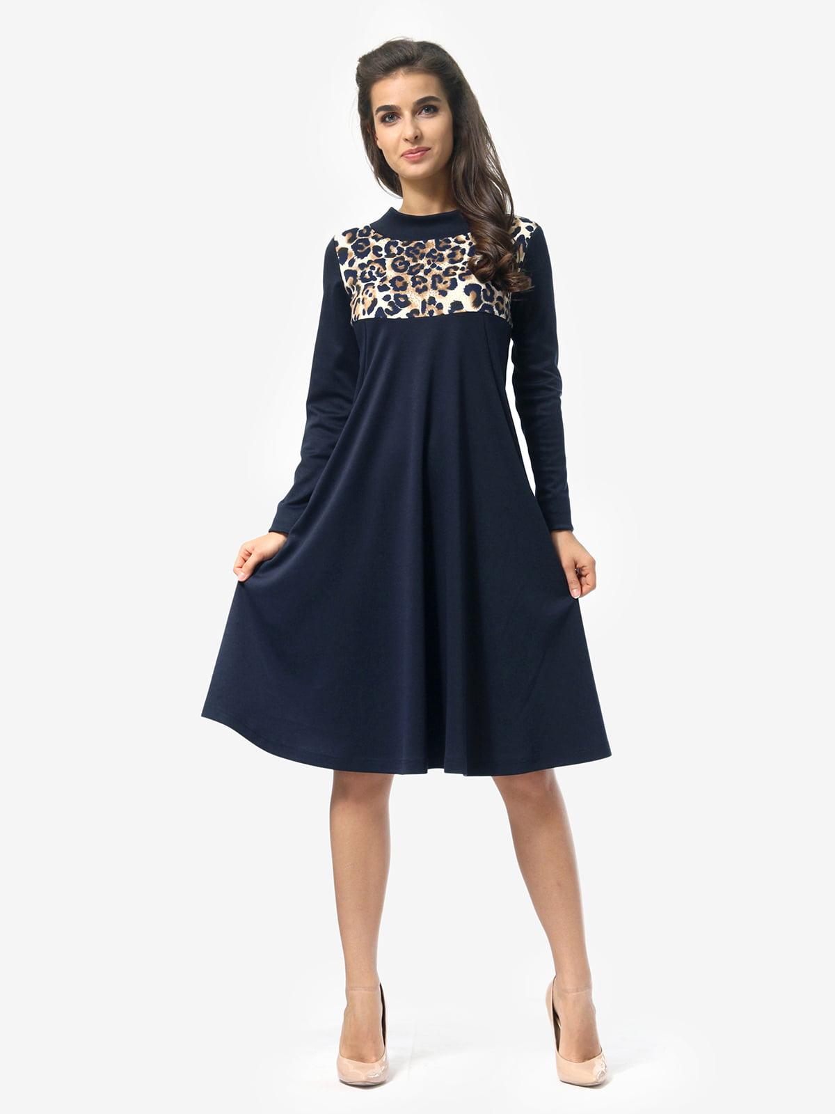 Сукня синя в анімалістичний принт | 5620696