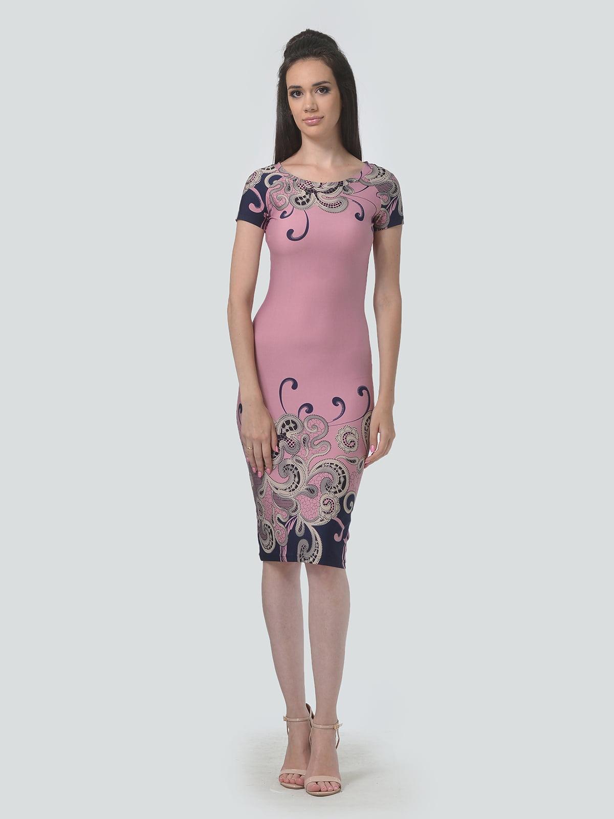 Сукня рожевого кольору в принт | 5621040