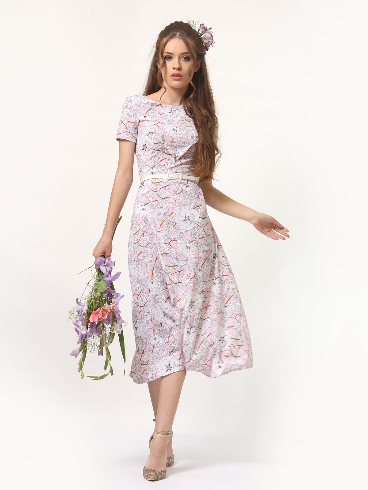 Сукня рожевого кольору в квітковий принт | 5621042