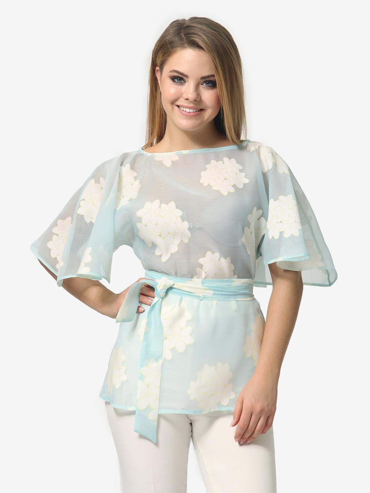 Блуза блакитного кольору в квітковий принт | 5621067