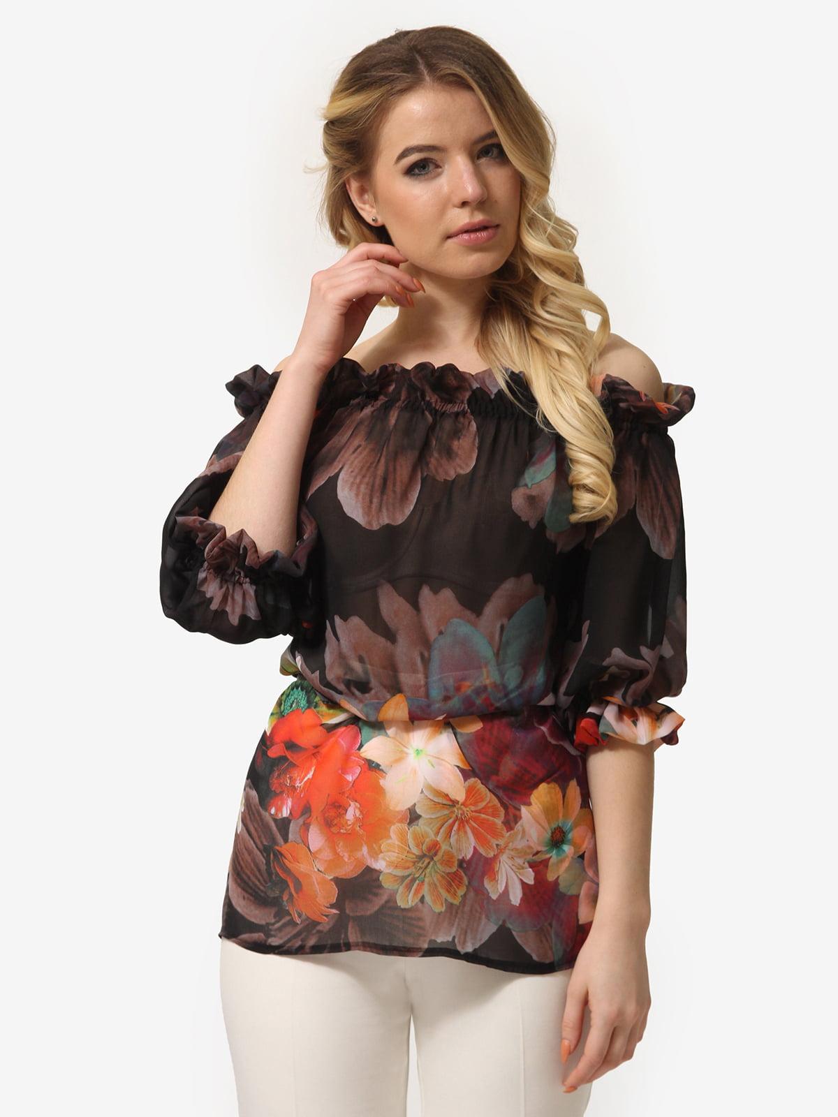 Блуза чорна в квітковий принт | 5621075