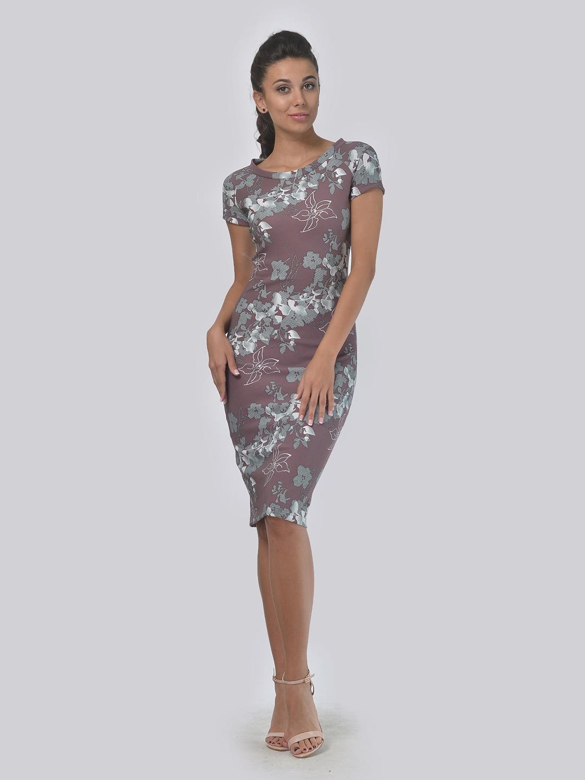 Платье бежевого цвета в цветочный принт | 5621505