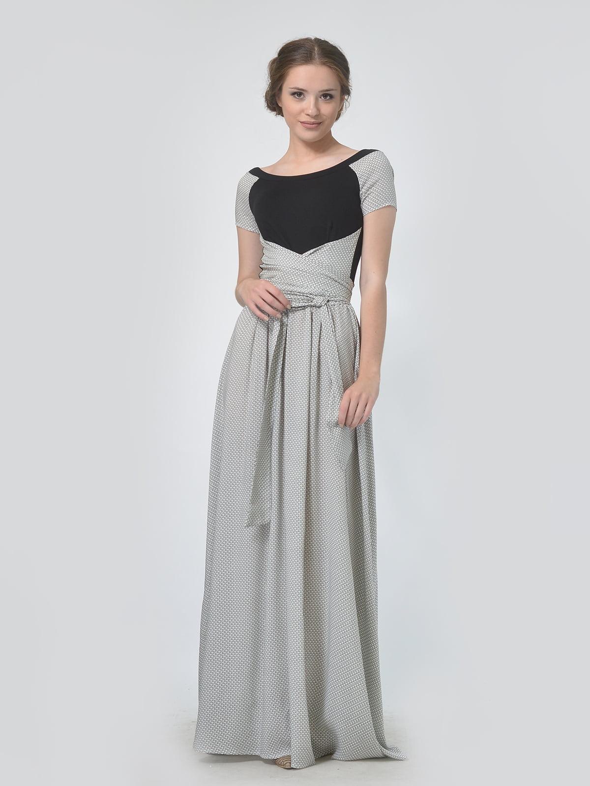 Сукня двокольорова в принт | 5621699