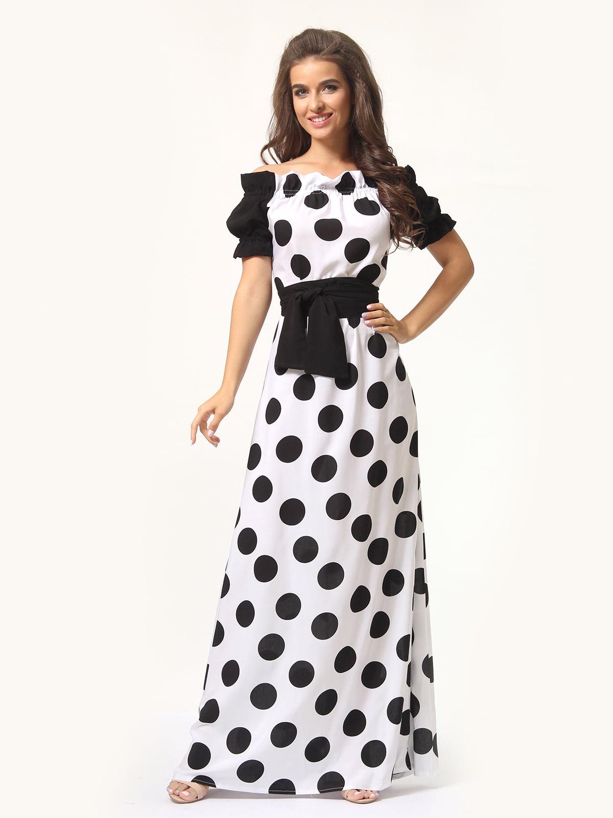 Сукня двокольорова в горошок | 5621314
