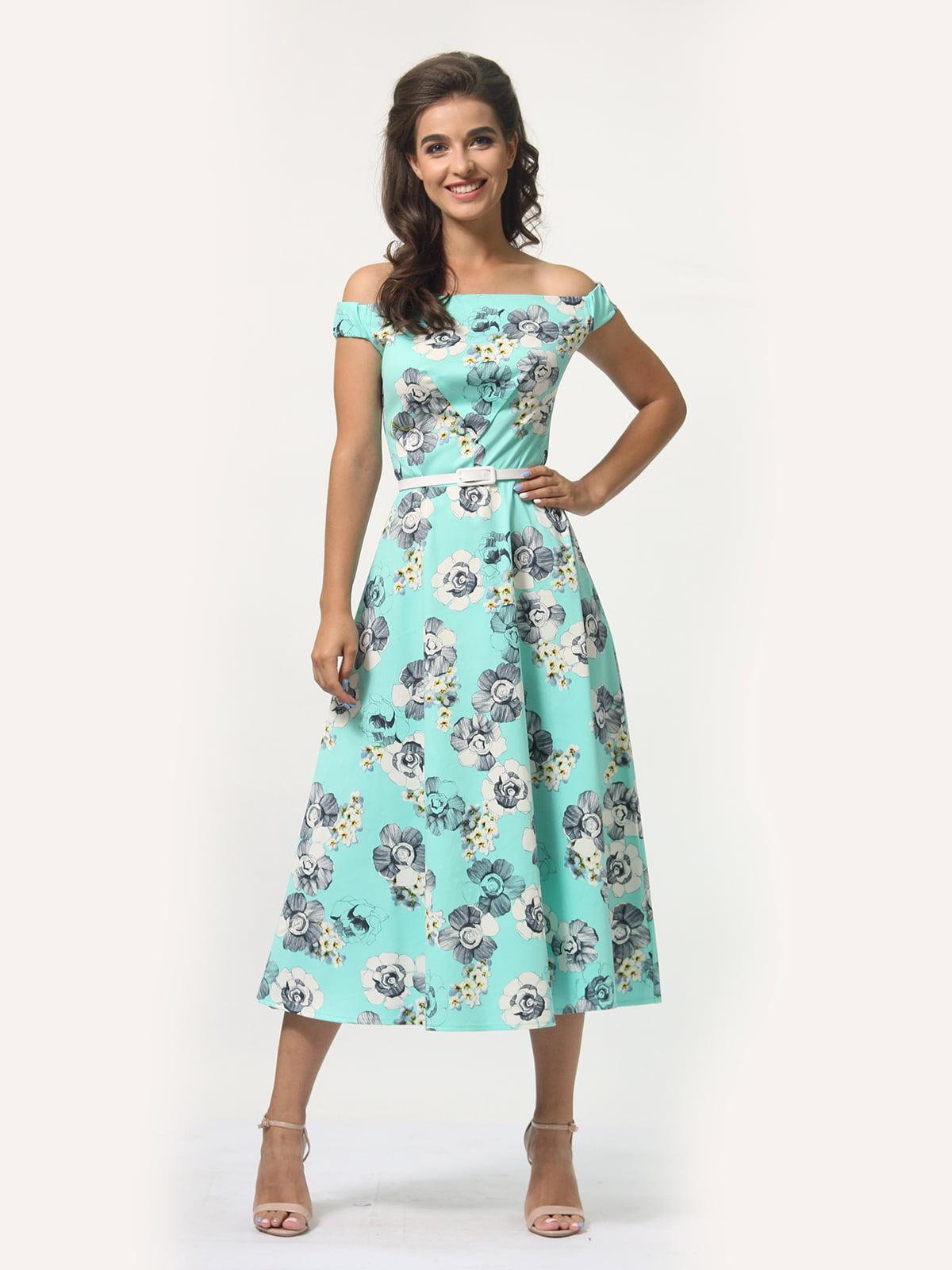 Платье мятного цвета в цветочный принт | 5621330