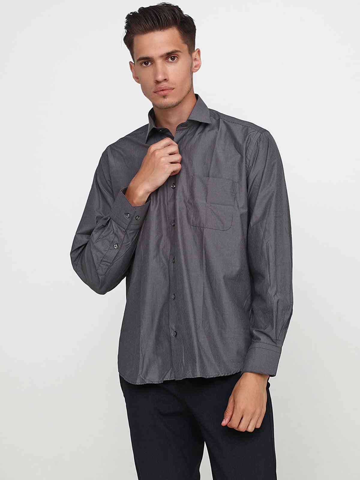 Сорочка темно-сіра в смужку | 5621865