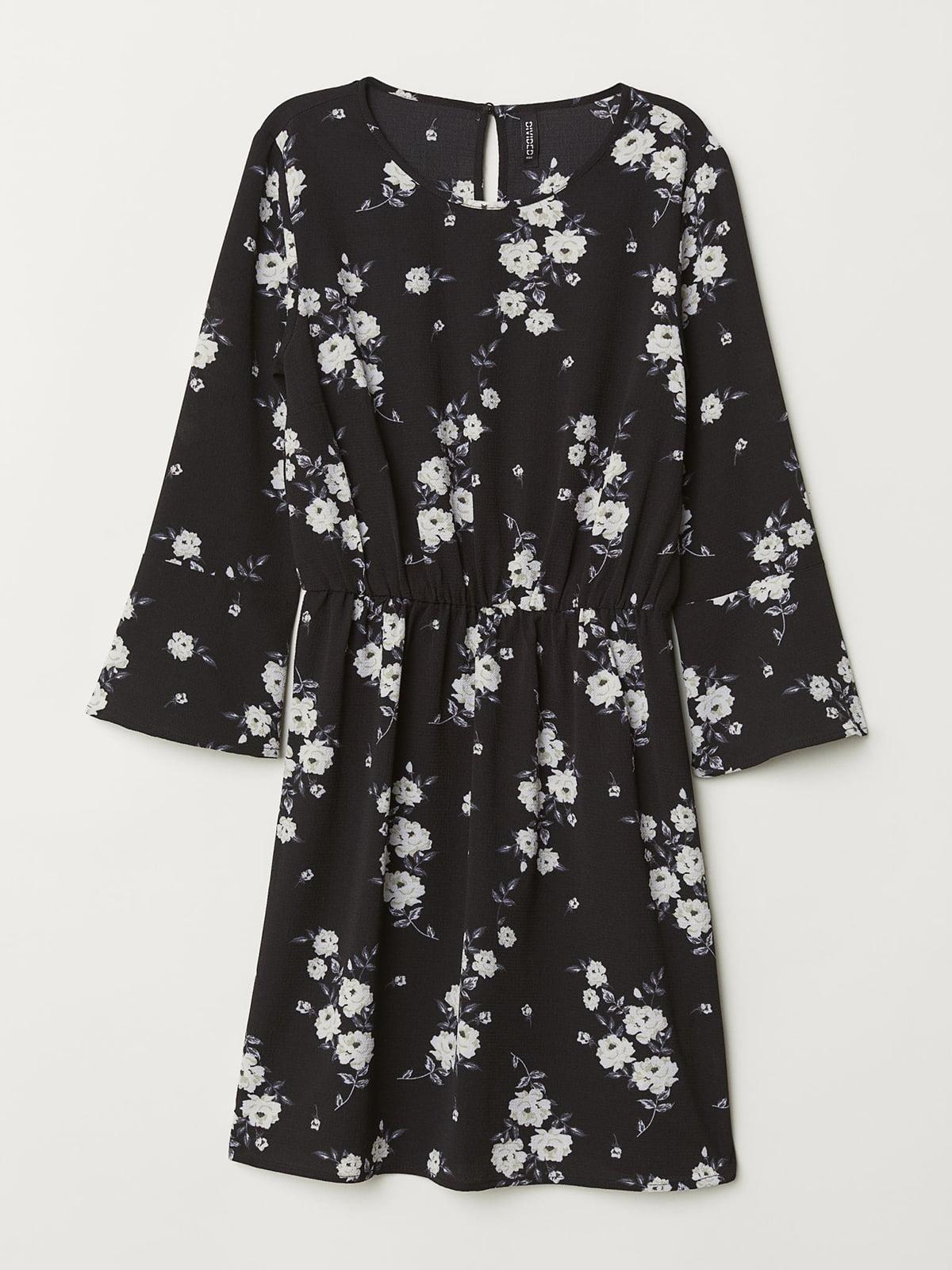 Платье черное в цветочный принт   5619520