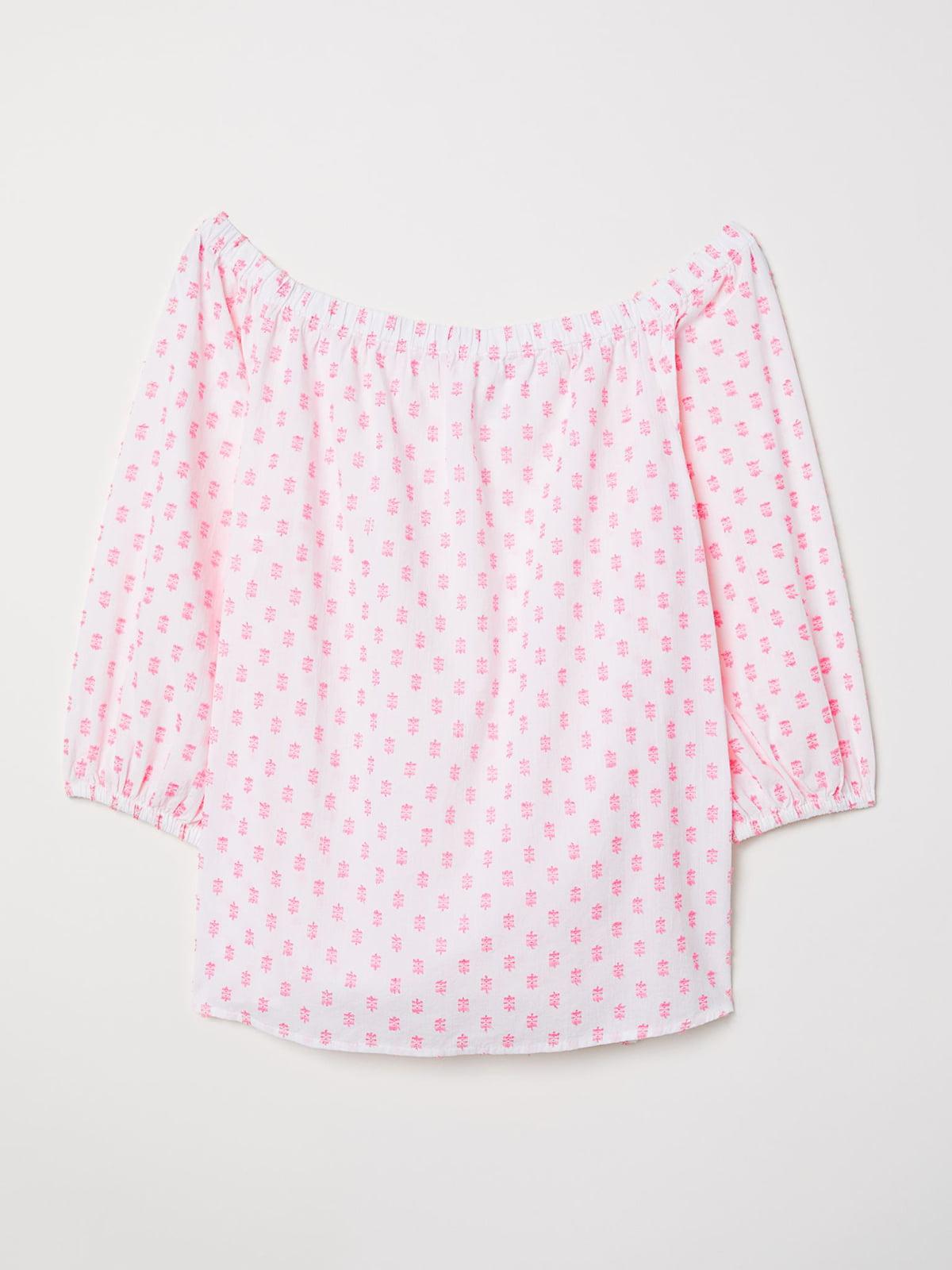 Блуза белая в принт | 5623509