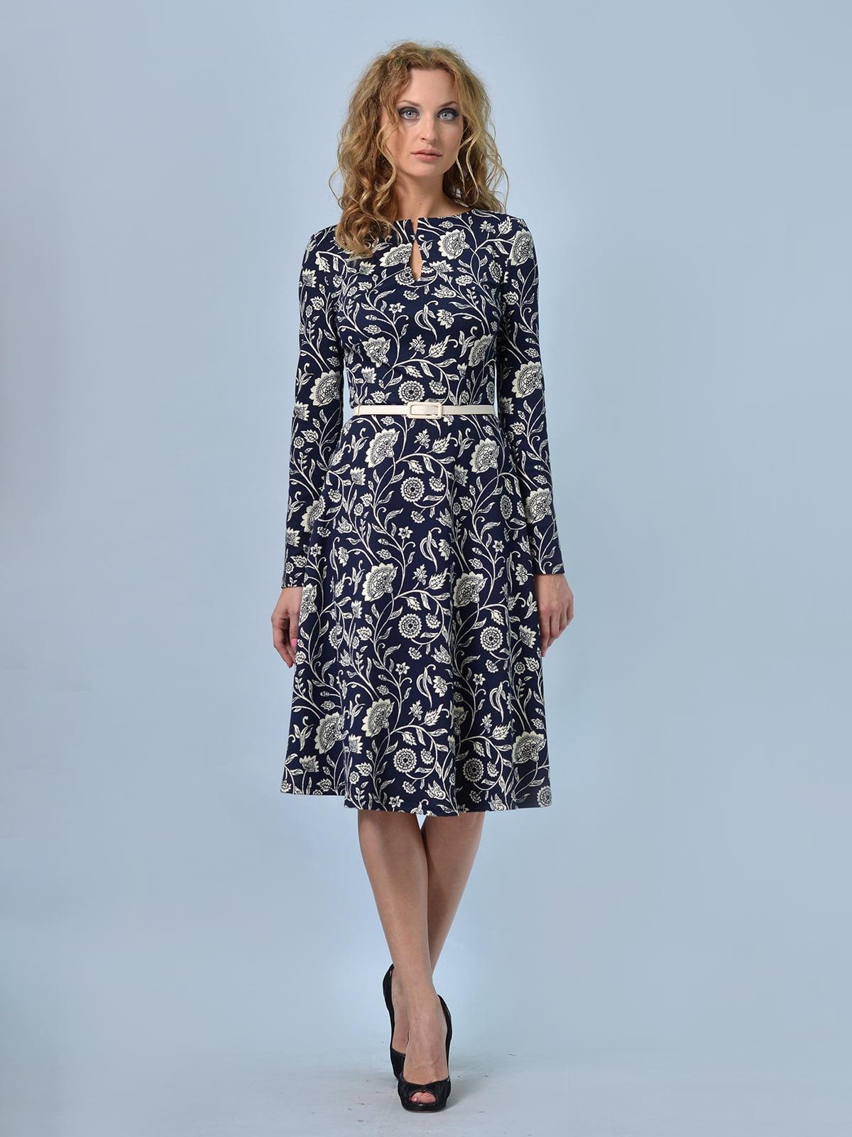 Сукня синя в квітковий принт | 5620805