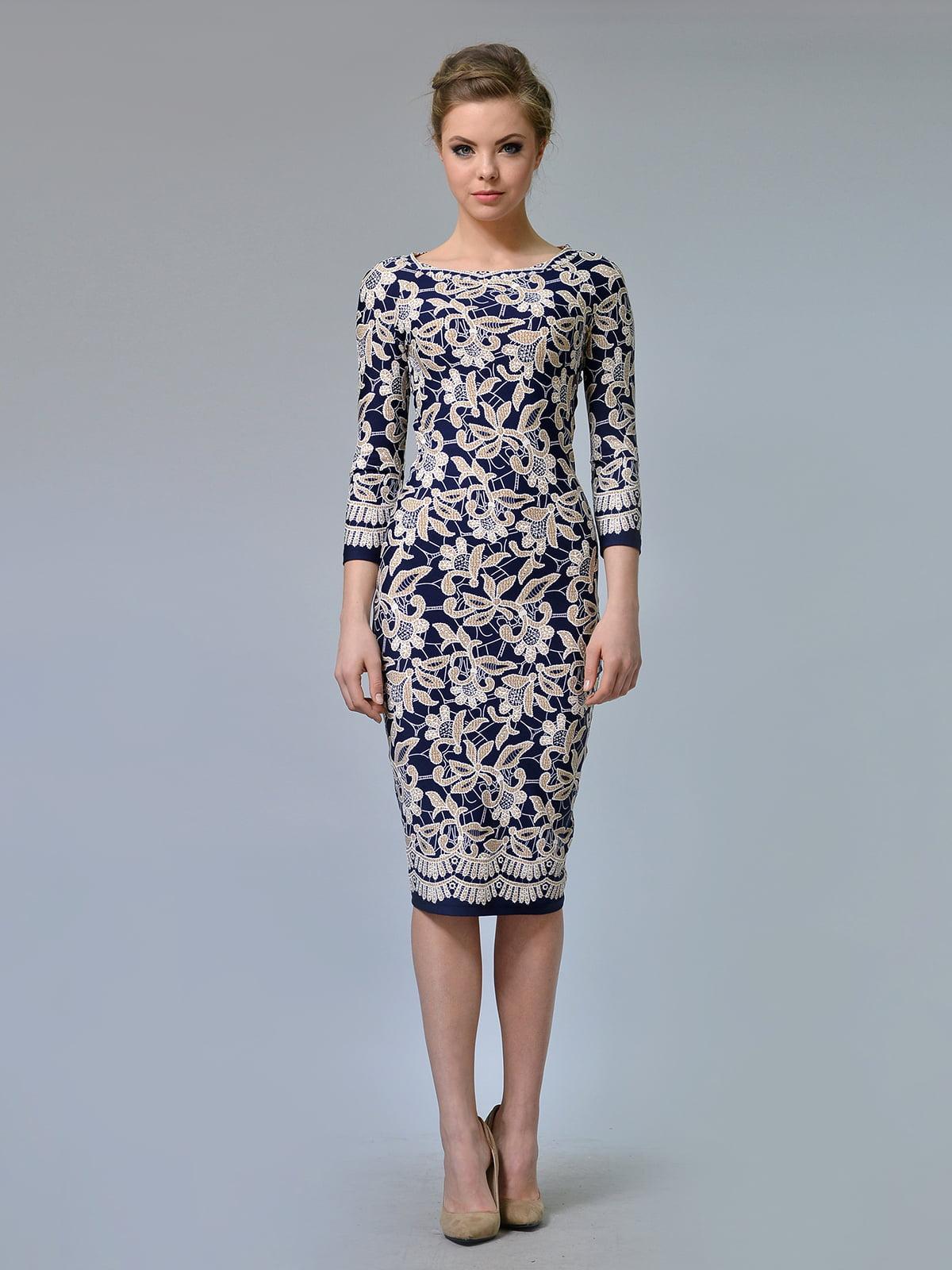 Сукня синя в квітковий принт | 5620850