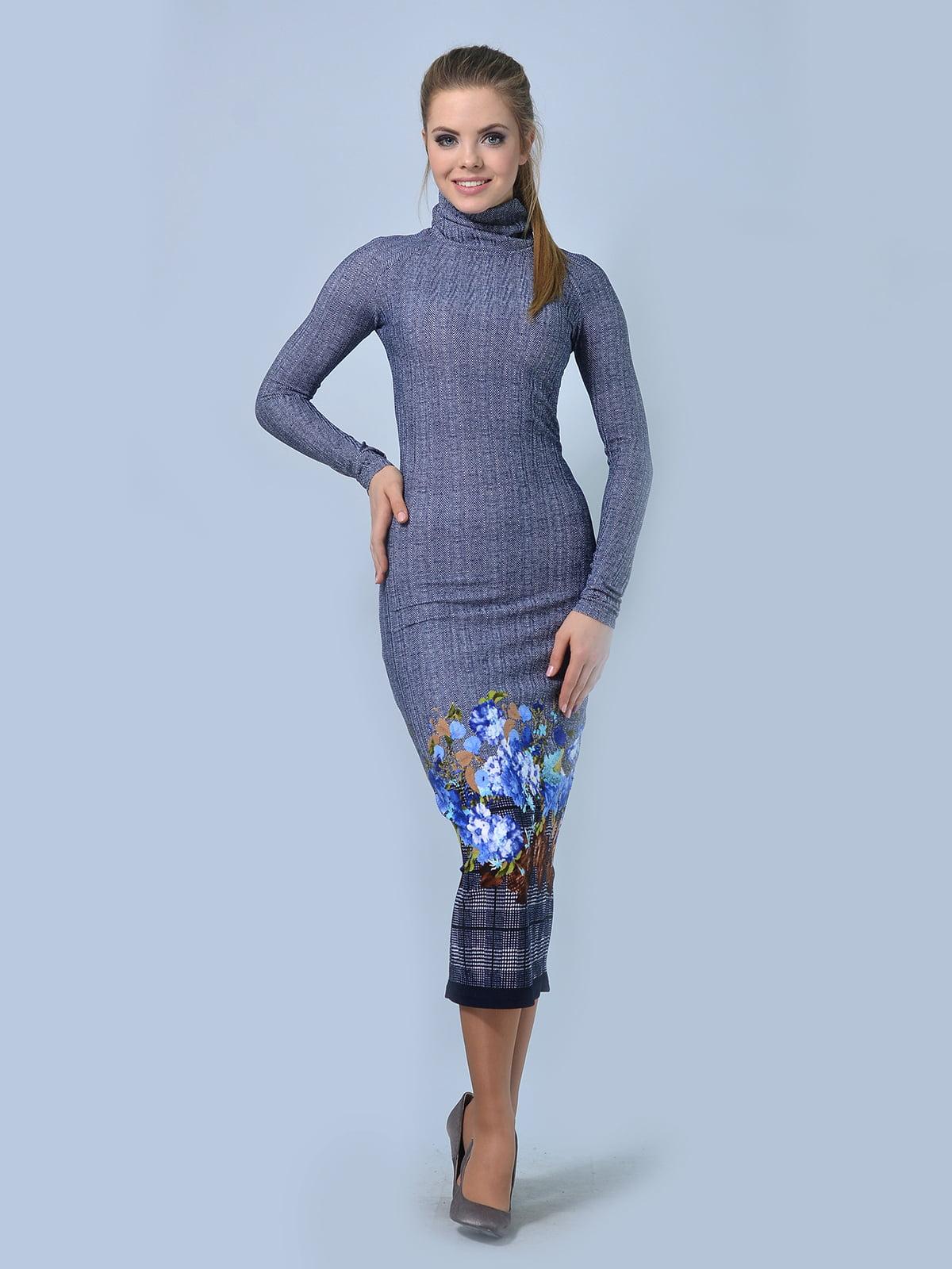 Сукня синя в квітковий принт   5620857