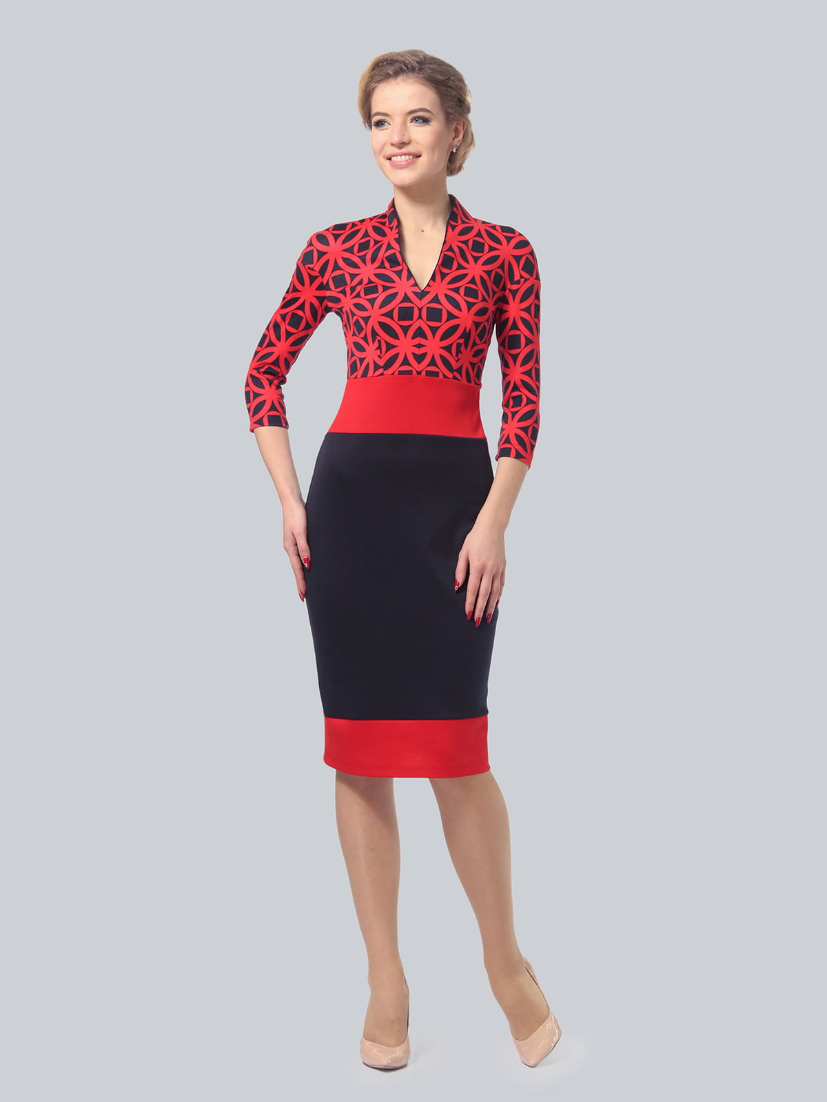Сукня триколірна в принт   5620880